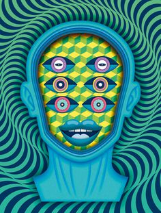 Yorokobu Mag illustrations V on Behance #eyes #face #psychodelic #pattern