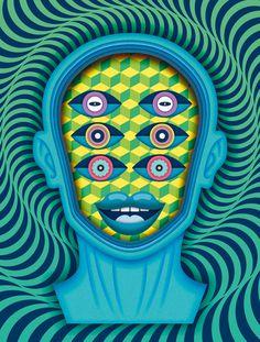 Yorokobu Mag illustrations V on Behance #eyes #face #psychodelic #pattern