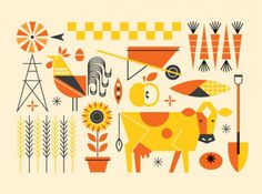 Food Environments - bradwoodarddesign #neatly #illustration #farm #animals #things #organized