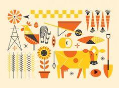 Food Environments - bradwoodarddesign #neatly #illustration #farm #animals #things #organized
