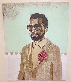 """Kanye T'da"" 24"" x 30"" Acrylic and vintage NY Times newspaper on canvas. #acrylic #cut #kanye #newspaper #vintage #collage #paper"
