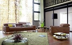 Living room decoration with a brown sofa