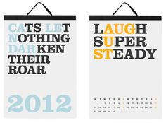 2012 Modern Calendars Photo #typography #calendar