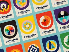 Pyramid Patches cards colors flower space games illustration branding icons logos