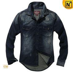 Retro Long Sleeve Denim Shirts for Men CW114301