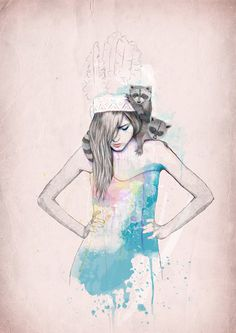 Raccoon Love on Behance, Ariana Perez #woman #splatters #illustration #fashion #watercolor #dress #racoon