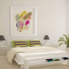 White modern bedroom with abstract painting #interior #paintings #bedroom #decor #art #painting