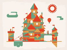 Castles | DangerDom Studios #color #shapes #illustration #mid #century #cute #castle #kids