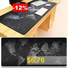 World Map Anti-skid Rubber Mouse Pad Oversized Non-slip Desktop Keyboard Mat - BLACK