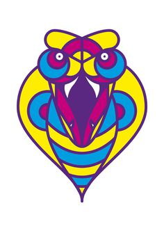 Urban tribe masks - Cobra by Adria Molins #urban #geometry #tribe #fluorescent #illustrator #design #masks #barcelona #street #art #face #animal #cobra