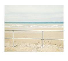 Railings, sea, sky, beach, sand, pastel, rothko, surf, horizon, waves, landscape, tranquil