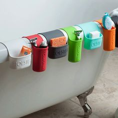 These storage pockets stick and hang anywhere for quick storage. #design #product #product design #industrial design #home #storage #pocket