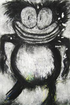 0cff7429-366x550.jpg (366×550) #white #joyce #black #cartoonish #painting #and #pensato #oil