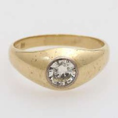 Band ring studded with 1 diamond approx 0,80 ct,