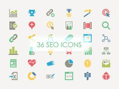 36 Colorful SEO Vector Icons