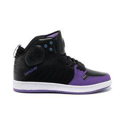 Supra S1W Black Purple Suede Stevie Williams Mid Skate Shoes