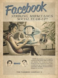 Facebook retro poster #buzz #print #socialmedia