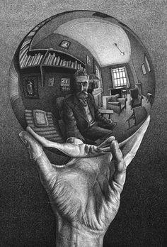 Hand with Reflecting Sphere 1935 Lithograph. 213mm x 318mm.
