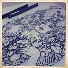 anna enola | Tumblr #ink #girl #illustration #tattoo #art #pen #bear #anna