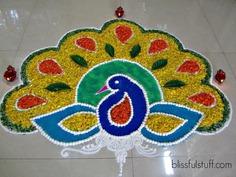 Peacock Rangoli Design Ideas