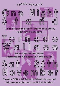 RA: Picnic presents One Night Stand feat Tornado Wallace at TBA - Sydney, Sydney #flyer #disco #house