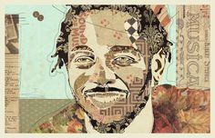 """""""King Kendrick"""" www.KyleMosher.com #kylemosher #newspaper #hiphop #illustration #portrait #vintage #art #rap"""