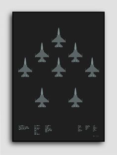 ☰✪☰ F-16 Fighting Falcon (running on Kickstarter til Wed, Sep 24 2014 ) Morse code typography: F-16 Fighting Falcon (left) Multi-rol #silver #graphicdesign #print #aircraft #plike #metallic