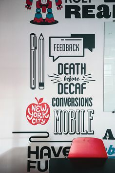 Appboy Office Mural #typography #hand lettering #wall mural
