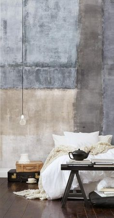 Concrete #interior #design #living #bedroom #bed #conrete