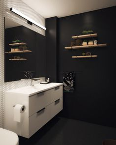 Basic Bathroom Gets a Graphic, Modern Renovation - Design Milk