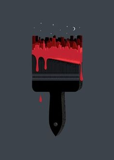 FFFFOUND! #design #illustration #paint #city #drip #paint brush