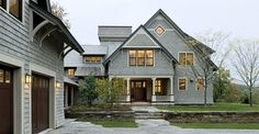 Shingle style home drive court to entry elevation - traditional - exterior - other metros - by Smith & Vansant Architects PC