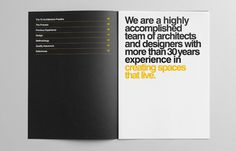 Y2 Architecture #helvetica #swiss #brochure #yellow #black #clean #circles #bold