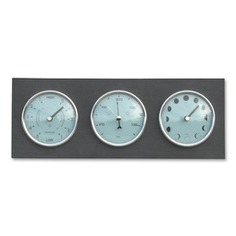 Plan your next adventure with the Barometer, Moon & Tide Clock! It features three dials—a barometer to gauge air pressure and a moon phase and tide clock for predicting tide times. Crafted in the UK from recycled materials.