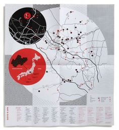 Kobuchizawa Art Village Brochure - FPO: For Print Only #map #red #black #color #art village