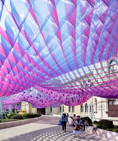 all(zone)'s 'marmalade sky' pavilion provides shade for festivalgoers in thailand