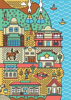 #illustrations #city #vector #poster #art #tpienczak #game #car #pepole #water #plane #man #street #streetart #western #horse #indiana #boat
