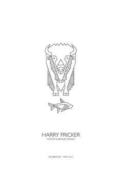 Poster — FRICKER #bison #fish #fricker #linedrawing #line #falmouth #outline #logo #design