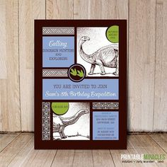 Printable dinosaur invitations / Customized by PrintableMiracles, $12.00 #dinosaur