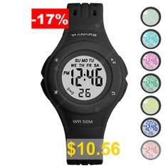 PANARS #SB2019092620 #Children #Colorful #Luminous #Watch #Waterproof #Multi-functional #Electronic #Alarm #Watches #- #BLACK