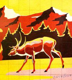 Oscar Howe, South Dakota #howe #deer #oscar #yellow #orange #graphic #south #grid #art #painting #dakota #fine