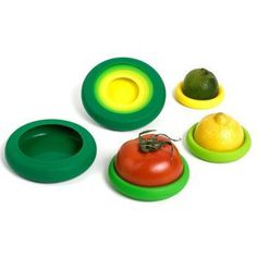 Flexible silicone food huggers keep your fruits and veggies fresh.