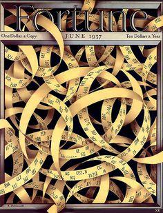 1937 - ticker-tape mess! (by x-ray delta one) artist - Antonio Petruccelli #tape #fortune #ticker #design #illustration #tangle #gold #ribbon #art #mess