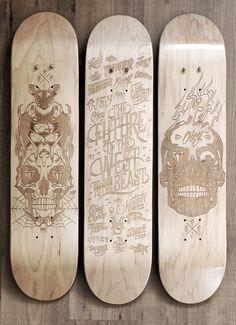 Laser Etched Skateboard Series 2013 by Malte Schweers