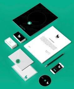 Black Fox Studios - by Sophie Riano - https://www.behance.net/sophieriano #studios #fox #branding #mockup #black #logo #cards #green