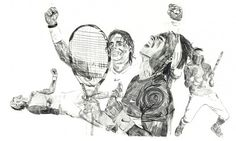 sam moppett #tennis #wimbledon #nidal #pencil #sketch