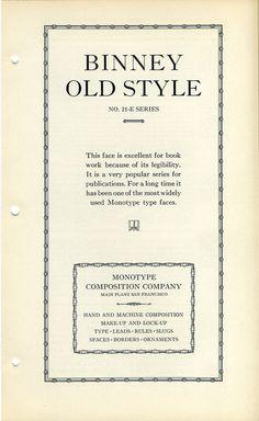 Binney Old Style type specimen