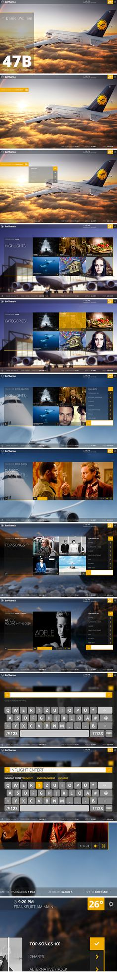 Lufthansa Inflight Entertainment System. #ui #ux #webdesign #lufthansa #app #graphic