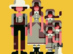 Prairie Family by Anthony Dimitre #flat #gemetric #human #illustration #character