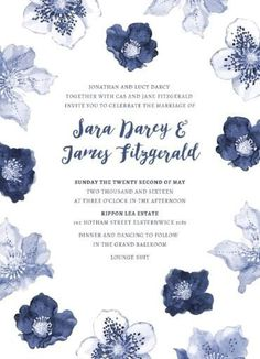 Blue Floral - Engagement Invitations #paperlust #engagement #engagementinvitation #invitation #engagementcards #engagementinspiration #wedd